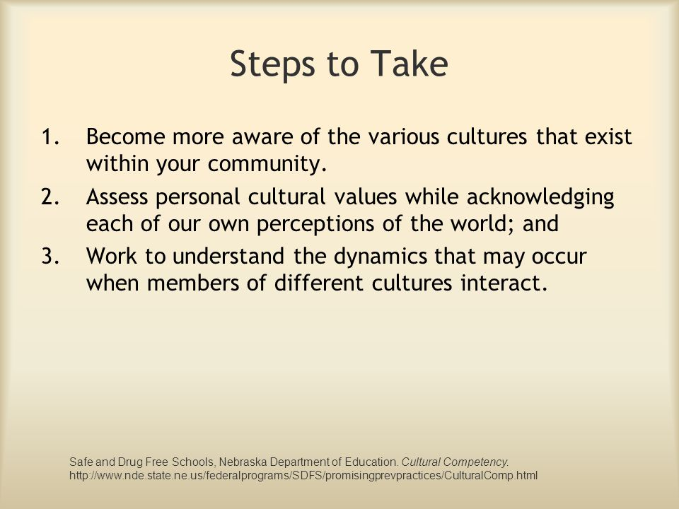 Steps to Take Become more aware of the various cultures that exist within your community.