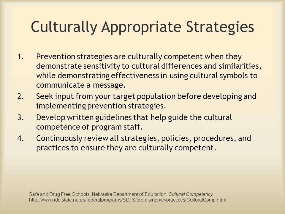 Culturally Appropriate Strategies