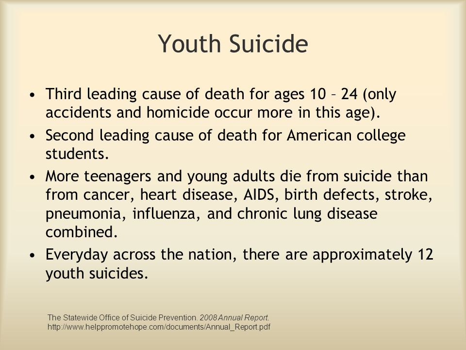Youth Suicide Third leading cause of death for ages 10 – 24 (only accidents and homicide occur more in this age).