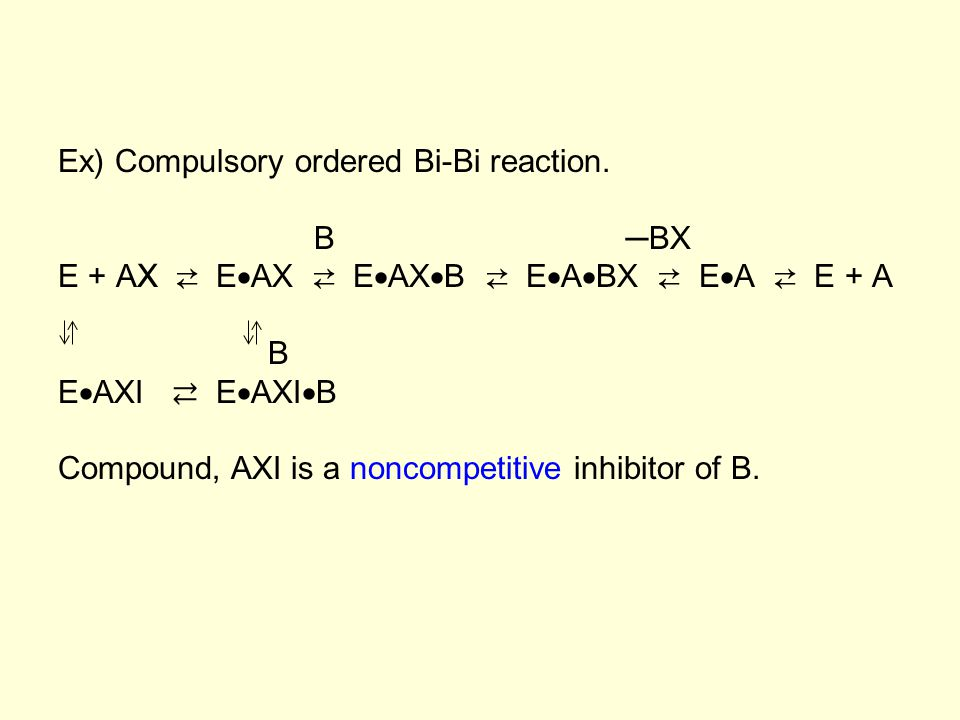 Ex) Compulsory ordered Bi-Bi reaction.