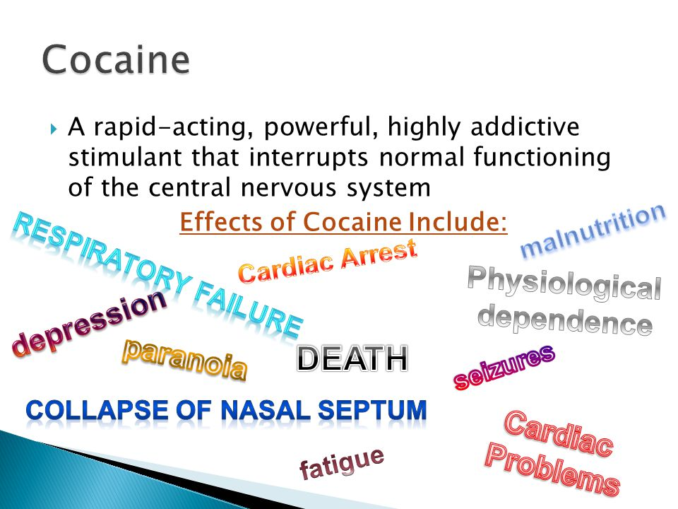 Effects of Cocaine Include: Collapse of nasal septum