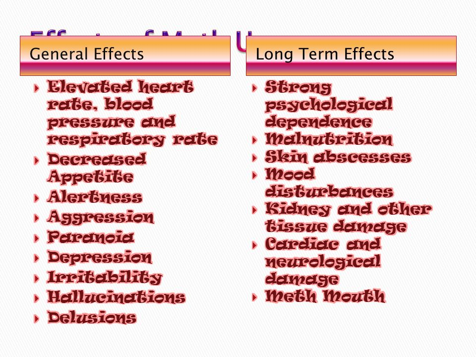 Effects of Meth Use General Effects Long Term Effects