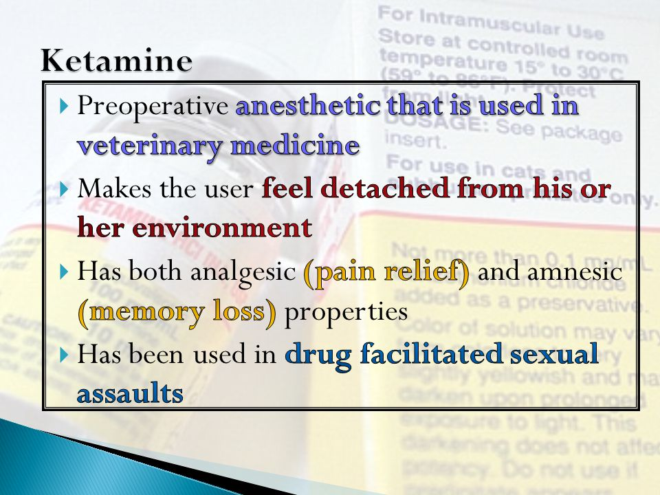 Ketamine Preoperative anesthetic that is used in veterinary medicine