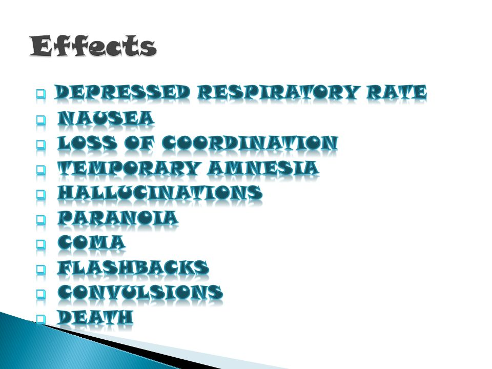 Effects Depressed Respiratory Rate Nausea Loss of Coordination