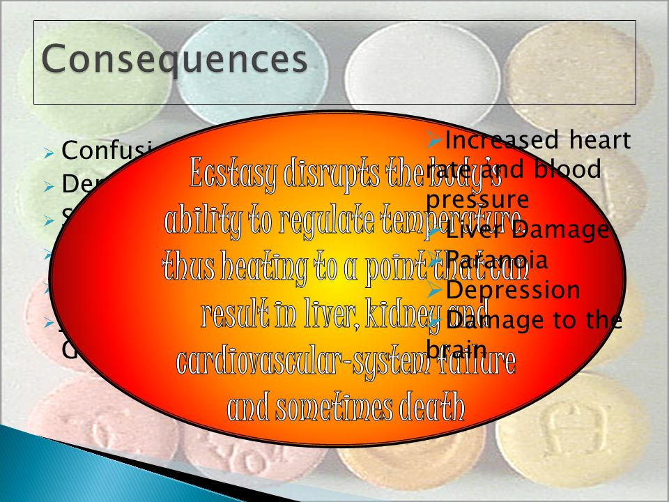 Consequences Increased heart rate and blood pressure. Liver Damage. Paranoia. Depression. Damage to the brain.