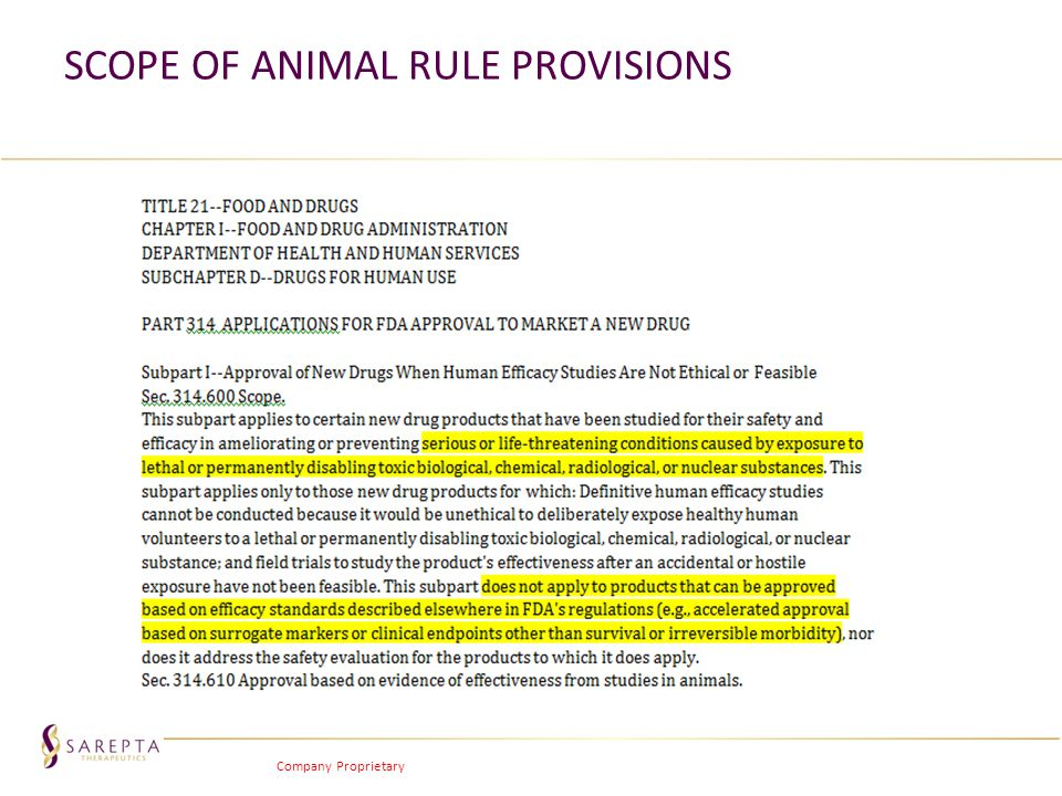 Scope of Animal Rule Provisions