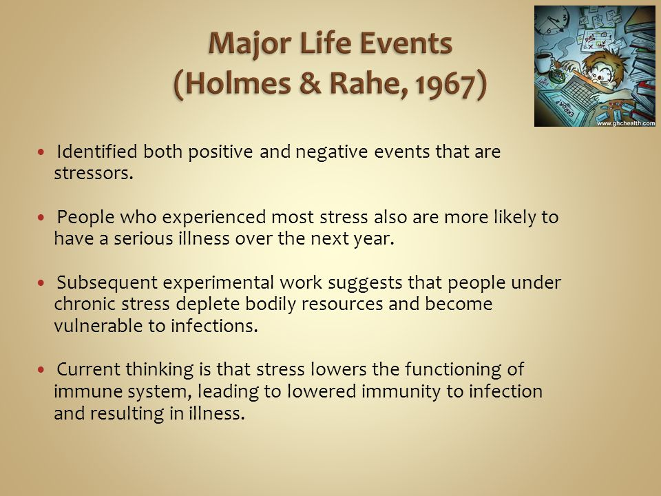 Major Life Events (Holmes & Rahe, 1967)