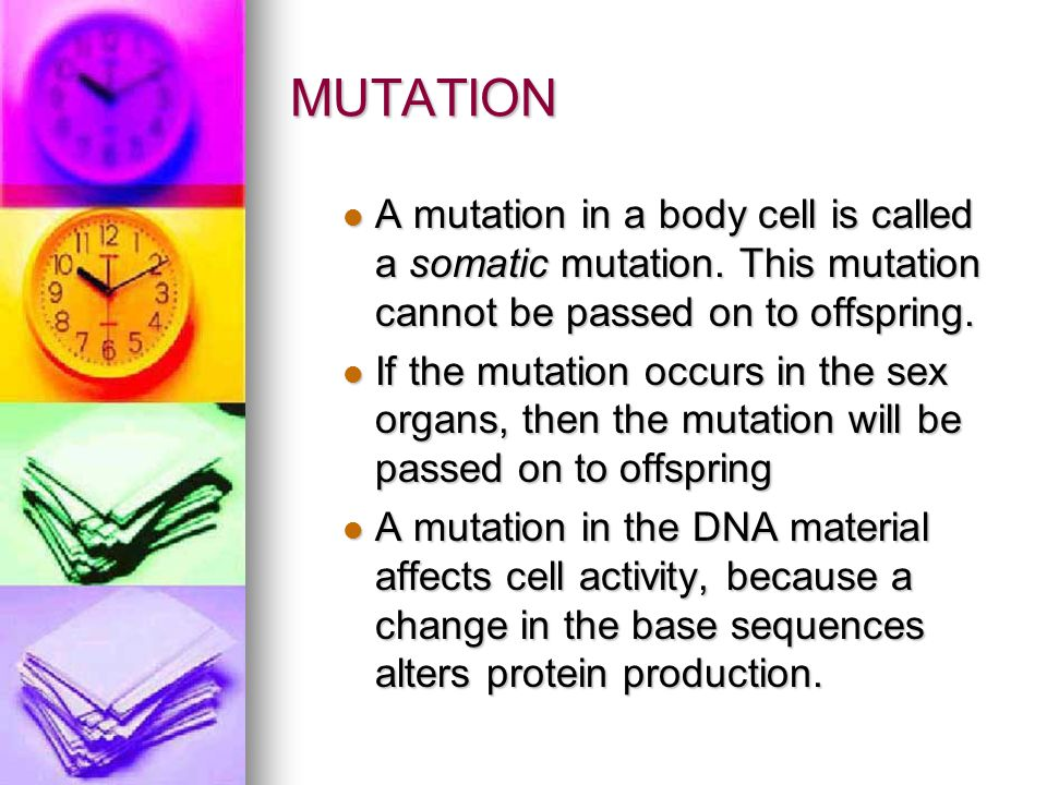 MUTATION A mutation in a body cell is called a somatic mutation. This mutation cannot be passed on to offspring.