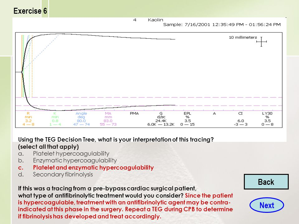 Exercise 6 Using the TEG Decision Tree, what is your interpretation of this tracing (select all that apply)