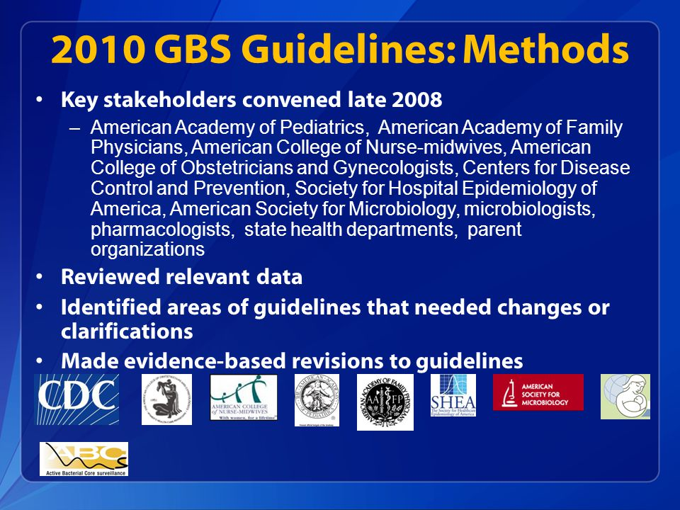 2010 GBS Guidelines: Methods