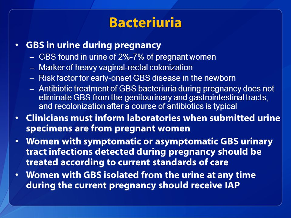 Bacteriuria GBS in urine during pregnancy
