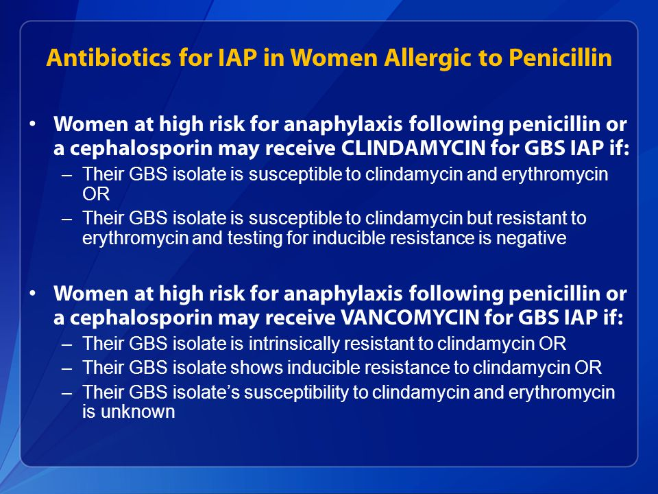 Antibiotics for IAP in Women Allergic to Penicillin