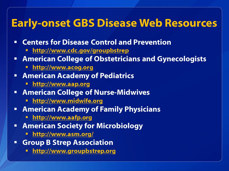 Early-onset GBS Disease Web Resources