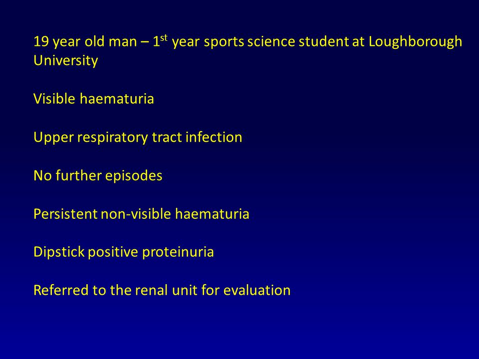 19 year old man – 1st year sports science student at Loughborough