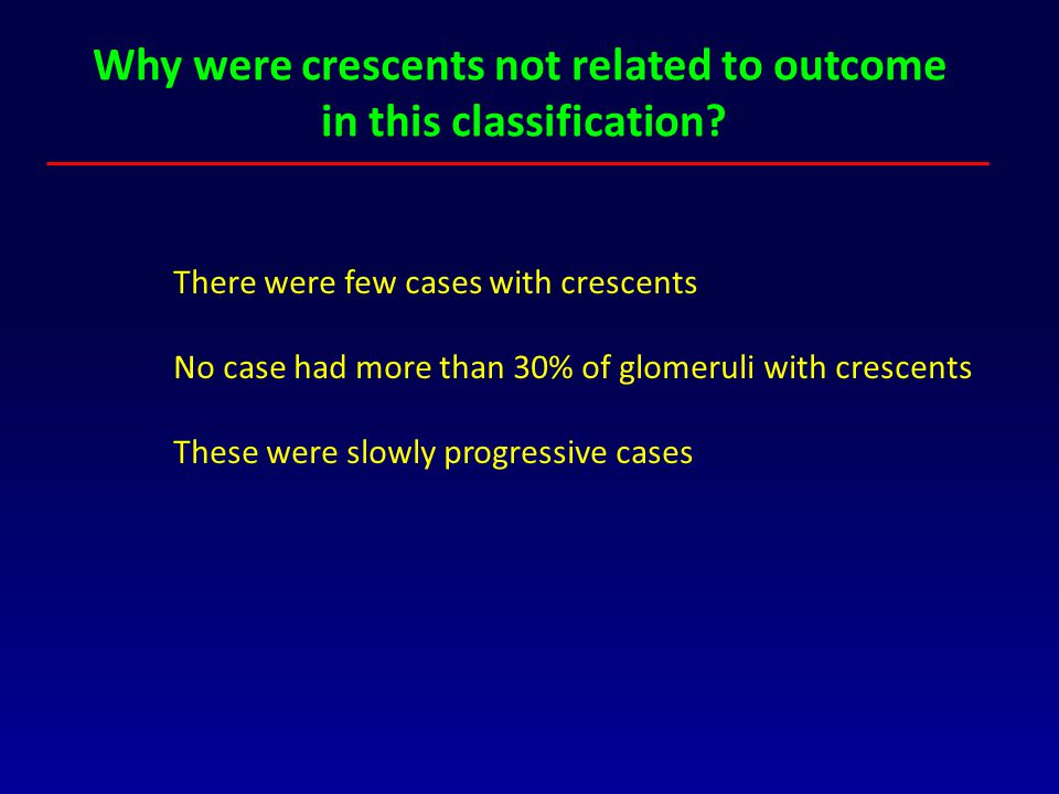 Why were crescents not related to outcome in this classification