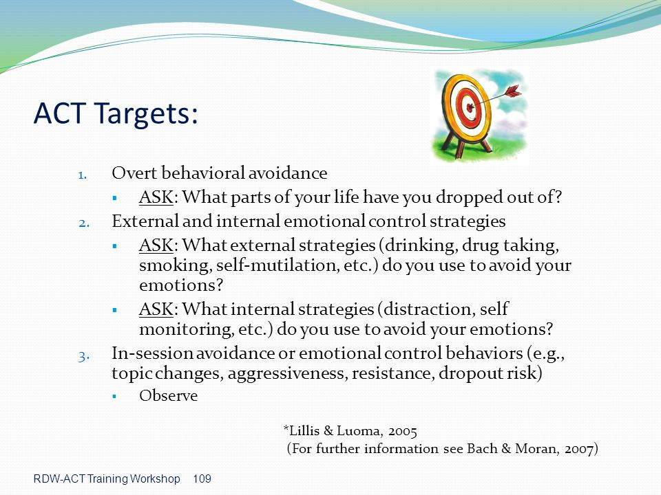 ACT Targets: Overt behavioral avoidance