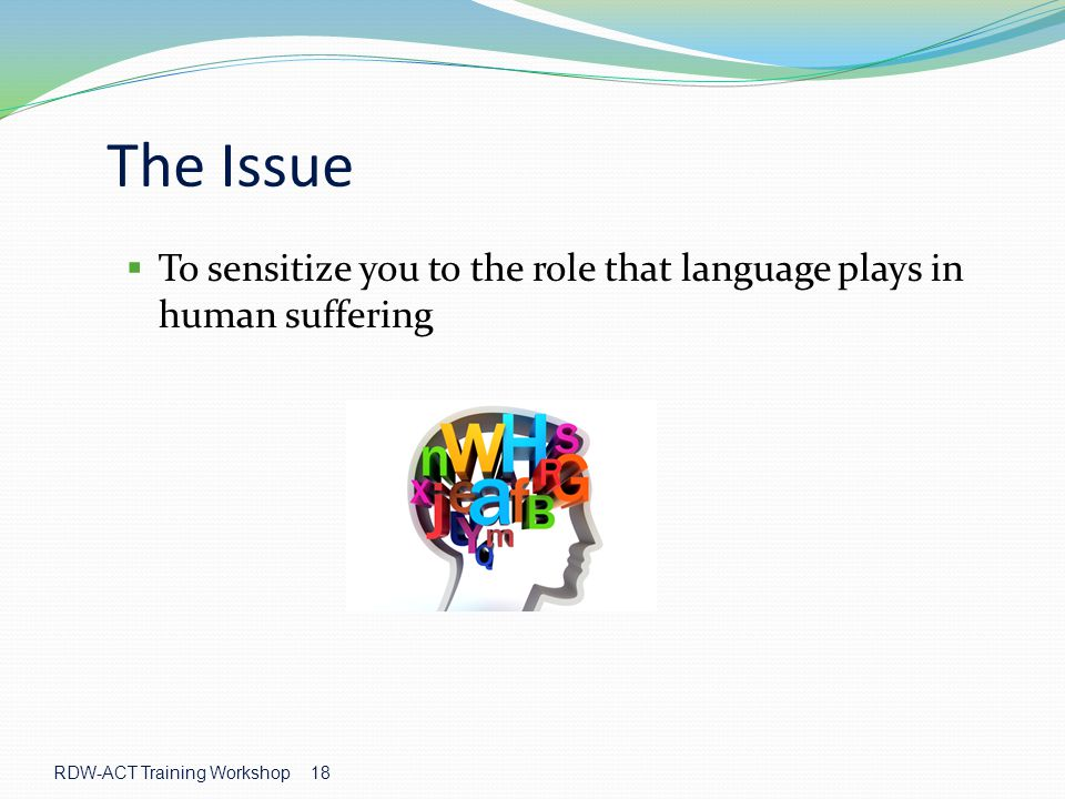 The Issue To sensitize you to the role that language plays in human suffering.