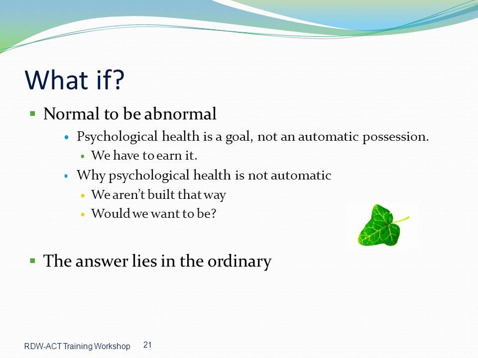 What if Normal to be abnormal The answer lies in the ordinary