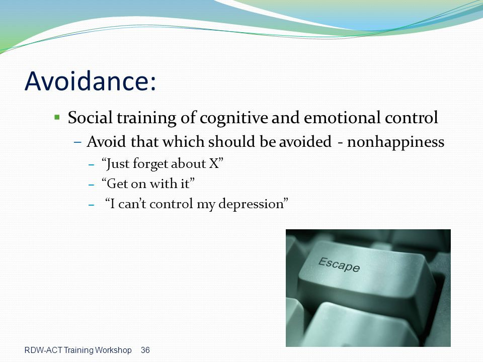 Avoidance: Social training of cognitive and emotional control