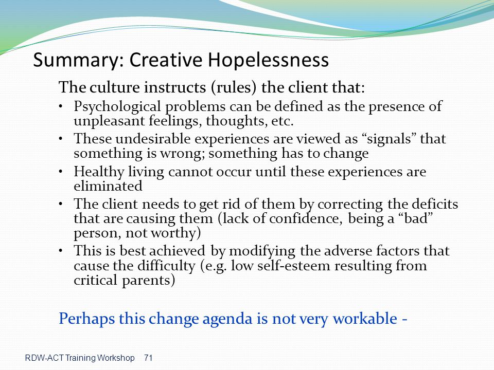 Summary: Creative Hopelessness