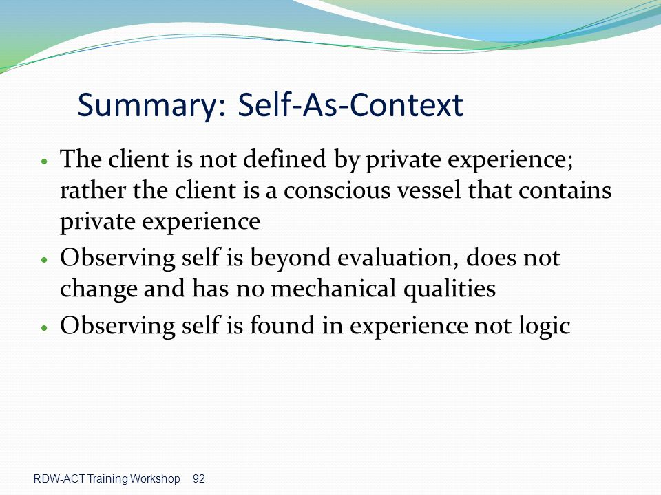 Summary: Self-As-Context