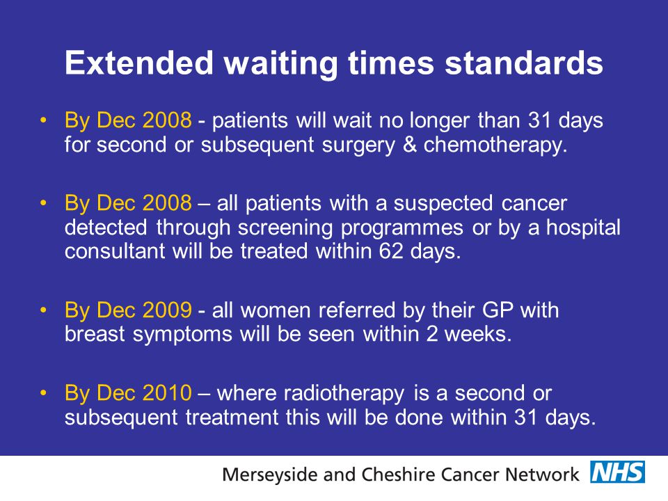 Extended waiting times standards