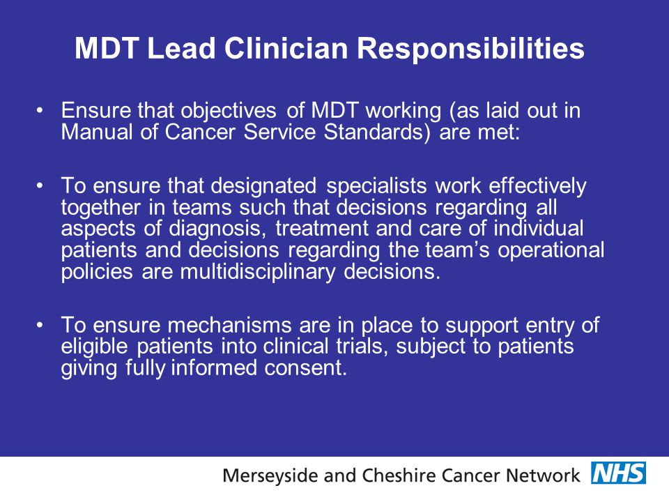 MDT Lead Clinician Responsibilities