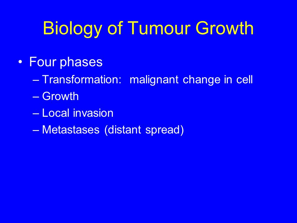 Biology of Tumour Growth