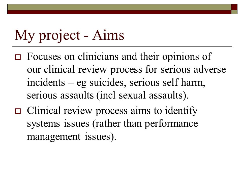 My project - Aims