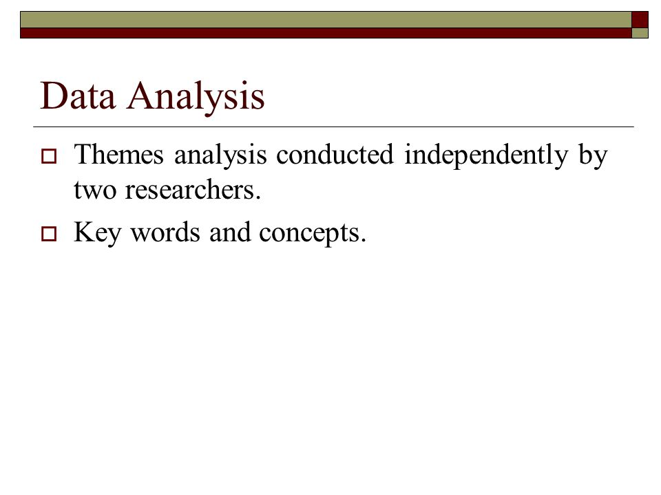 Data Analysis Themes analysis conducted independently by two researchers. Key words and concepts.