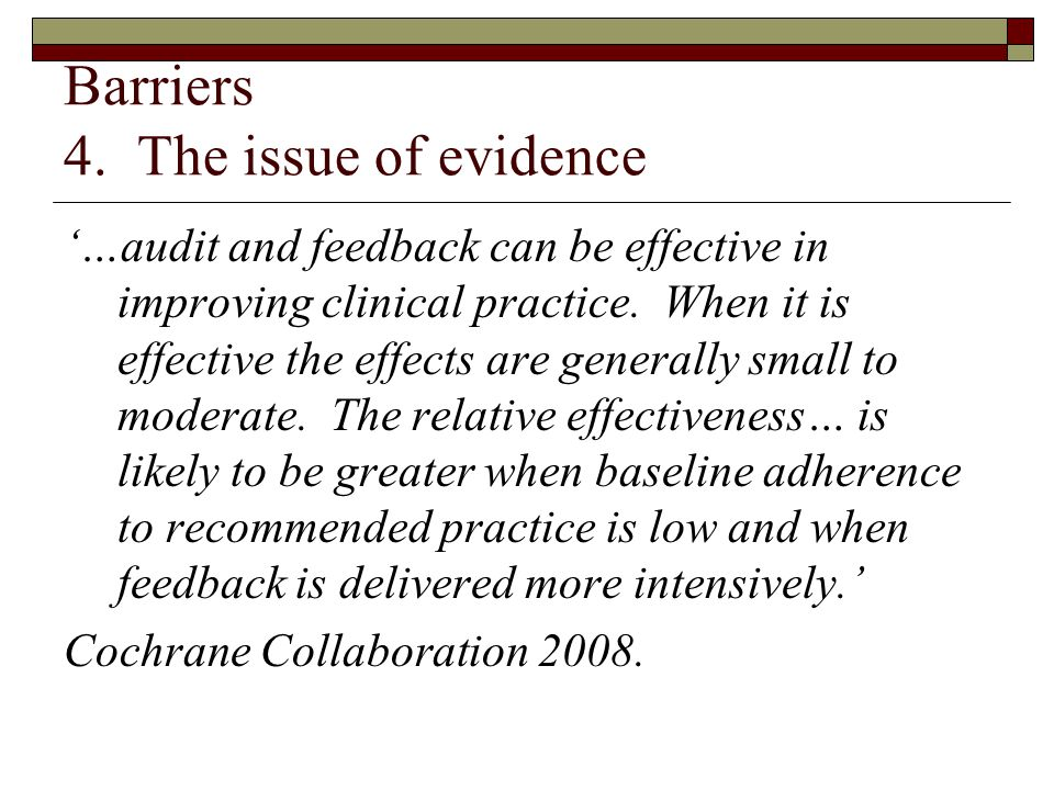Barriers 4. The issue of evidence