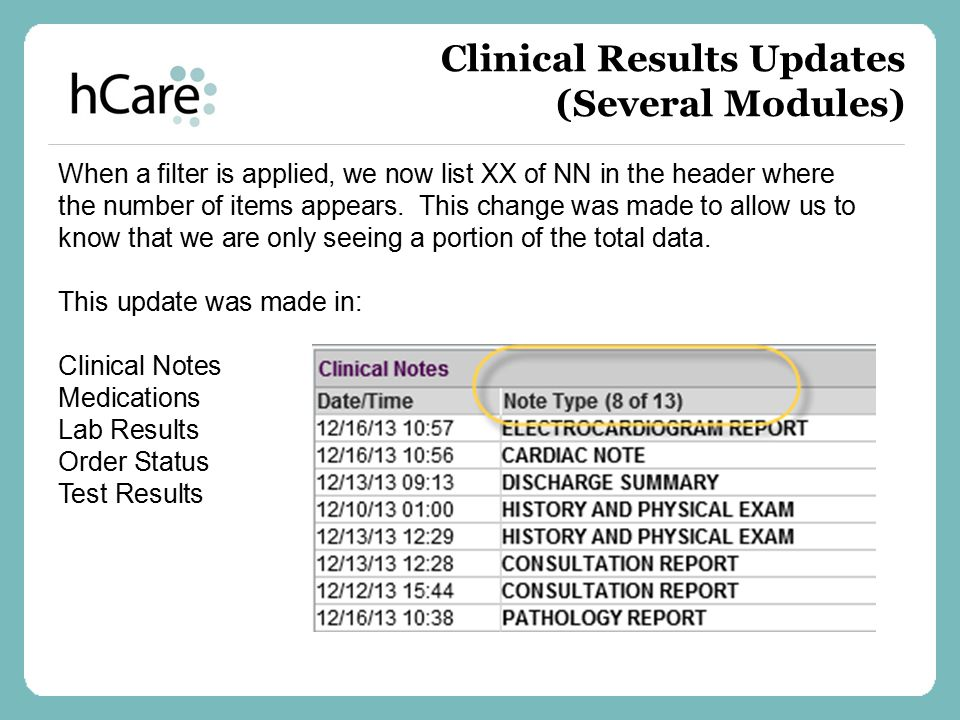 Clinical Results Updates (Several Modules)