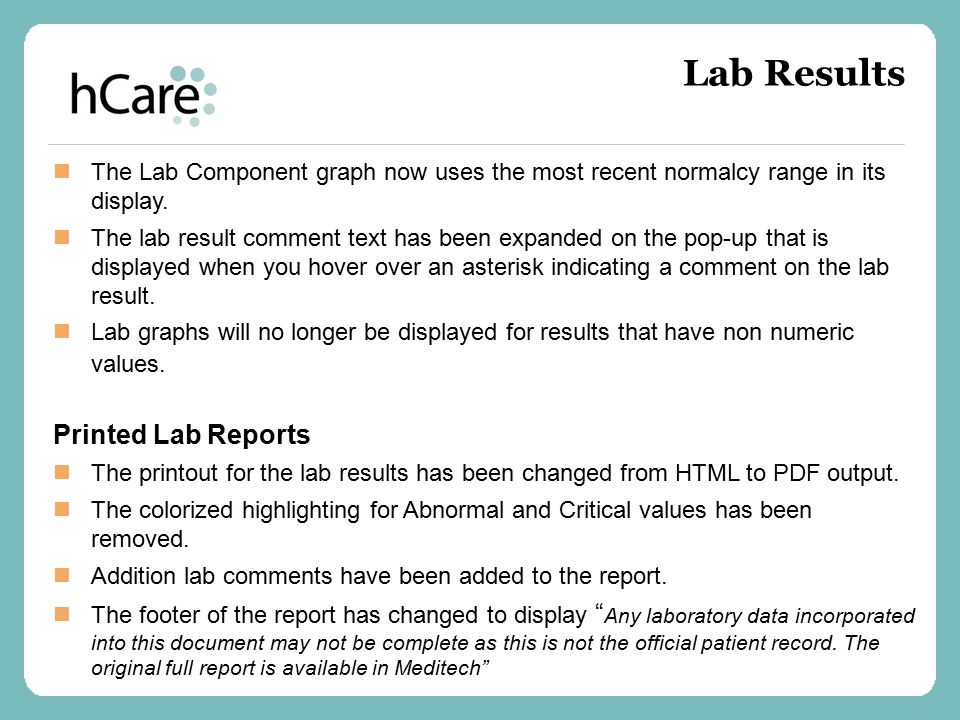 Lab Results Printed Lab Reports