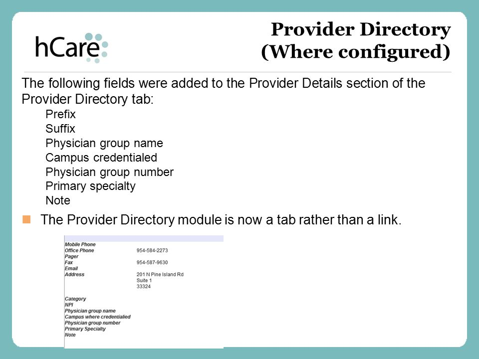 Provider Directory (Where configured)