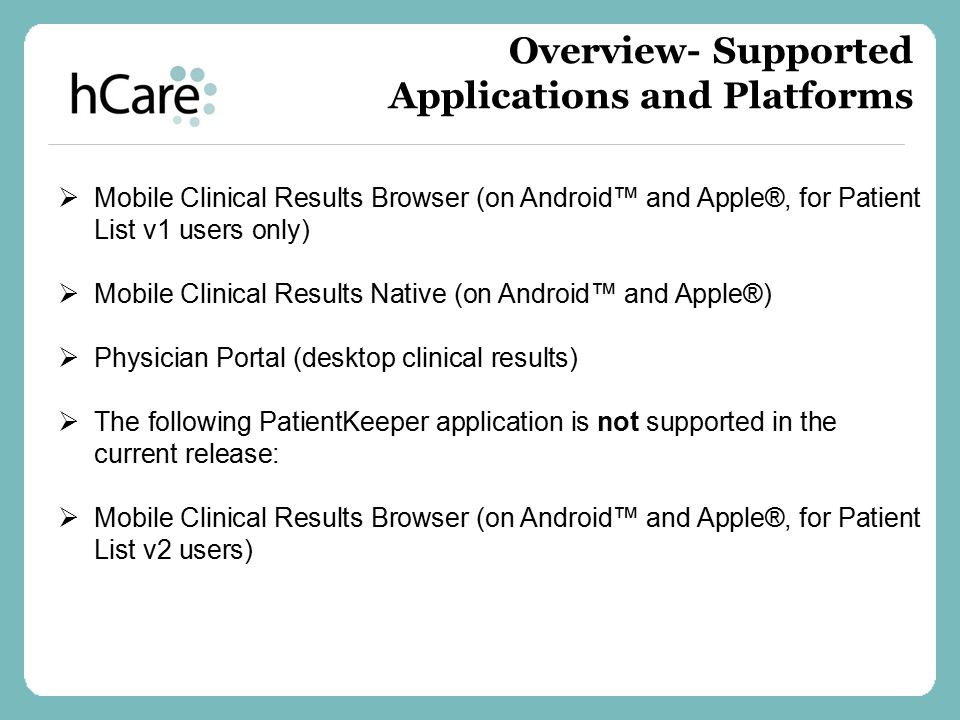 Overview- Supported Applications and Platforms