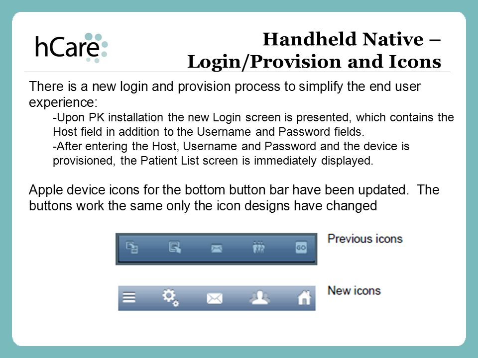 Handheld Native – Login/Provision and Icons