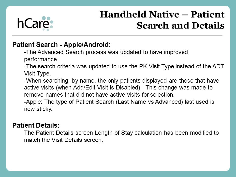 Handheld Native – Patient Search and Details