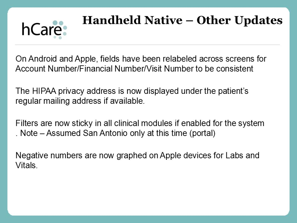 Handheld Native – Other Updates