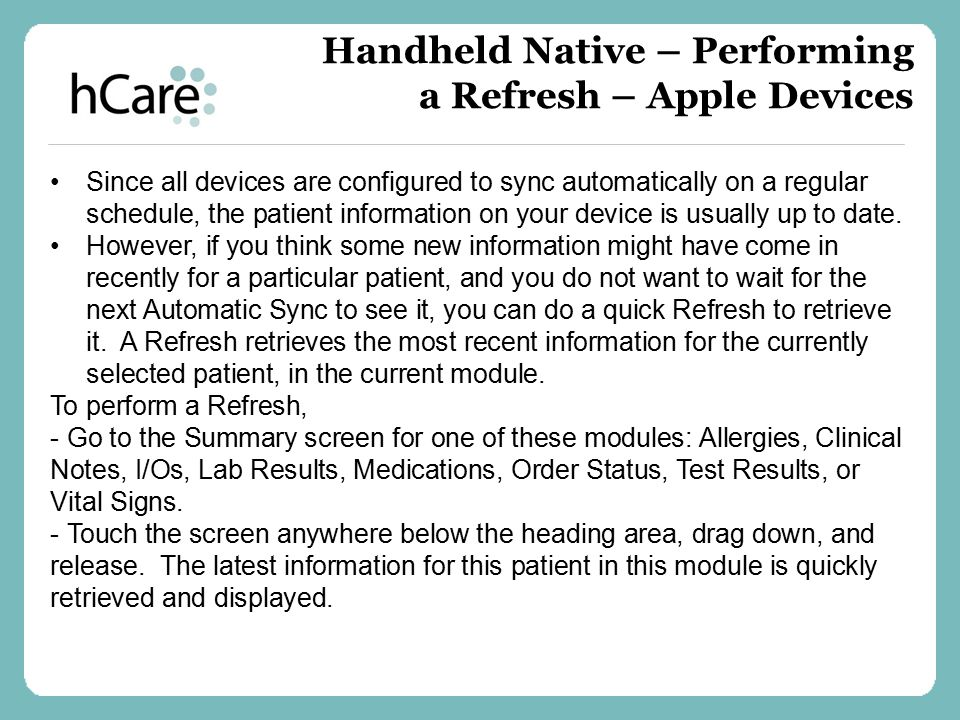 Handheld Native – Performing a Refresh – Apple Devices