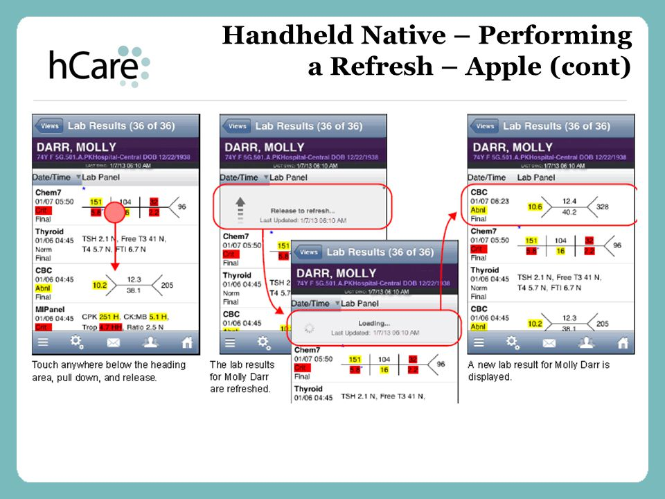 Handheld Native – Performing a Refresh – Apple (cont)