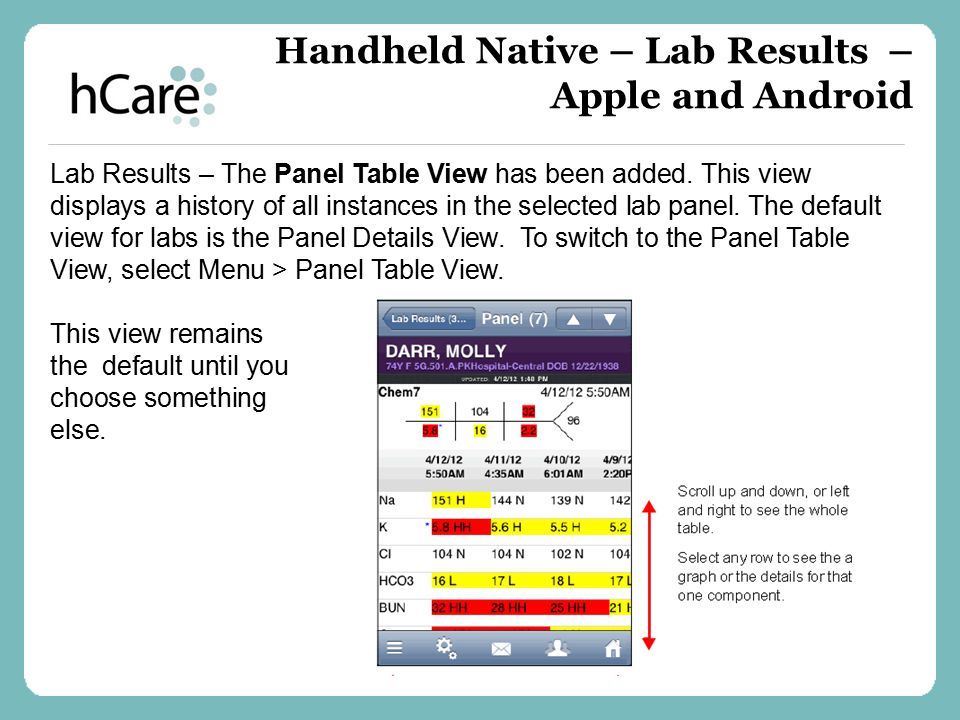 Handheld Native – Lab Results – Apple and Android