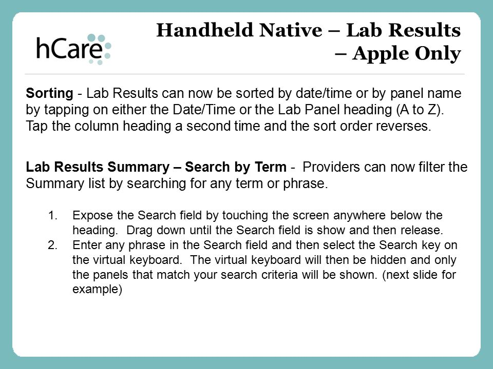 Handheld Native – Lab Results – Apple Only