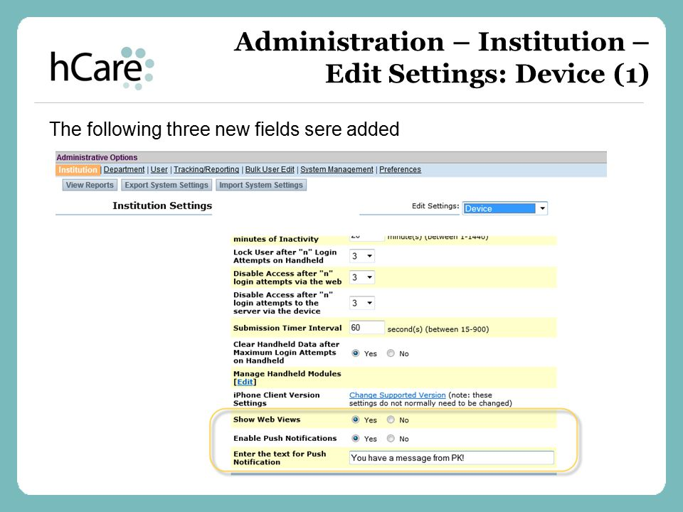 Administration – Institution – Edit Settings: Device (1)