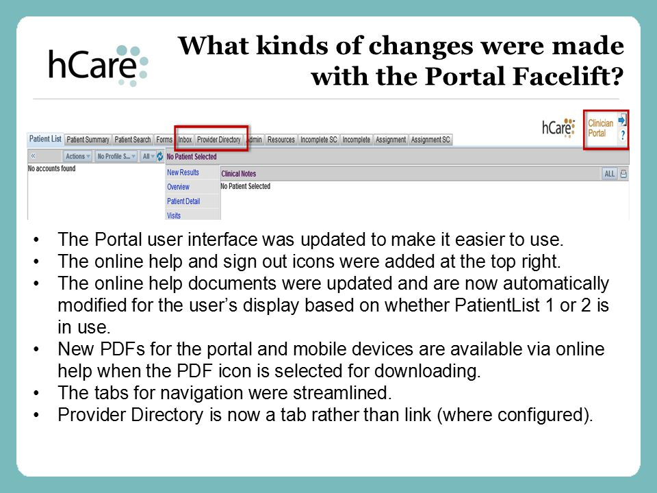 What kinds of changes were made with the Portal Facelift