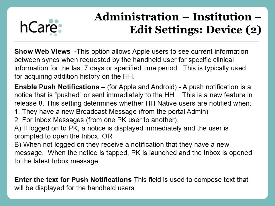Administration – Institution – Edit Settings: Device (2)
