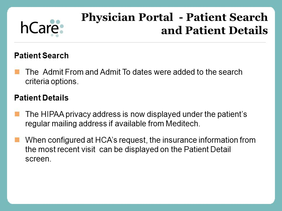 Physician Portal - Patient Search and Patient Details