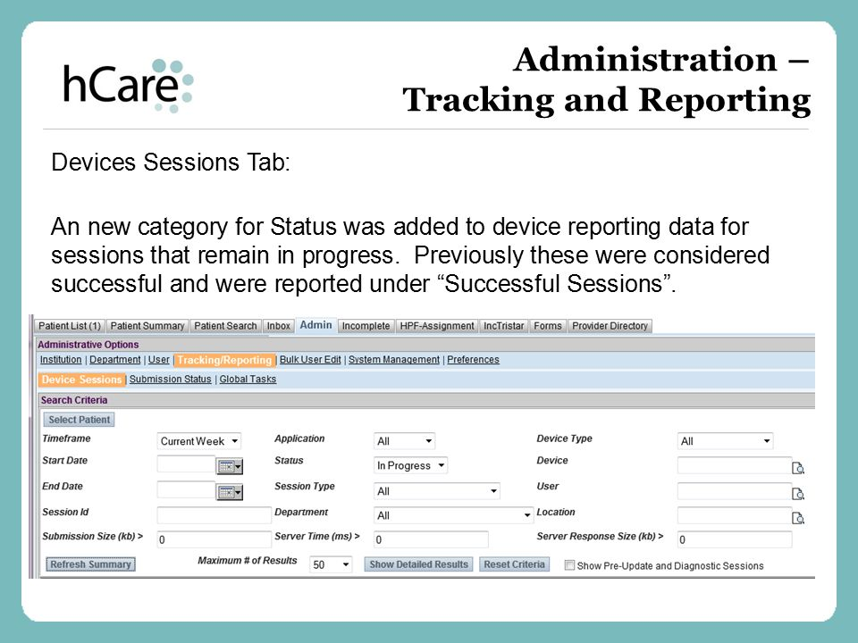 Administration – Tracking and Reporting