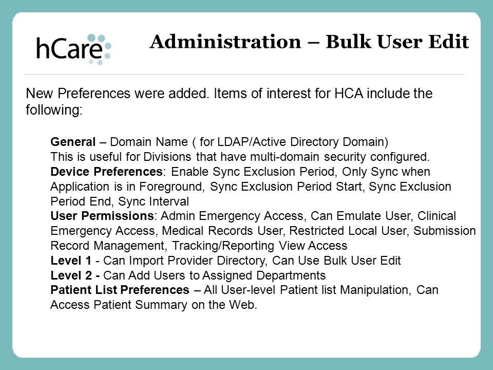 Administration – Bulk User Edit