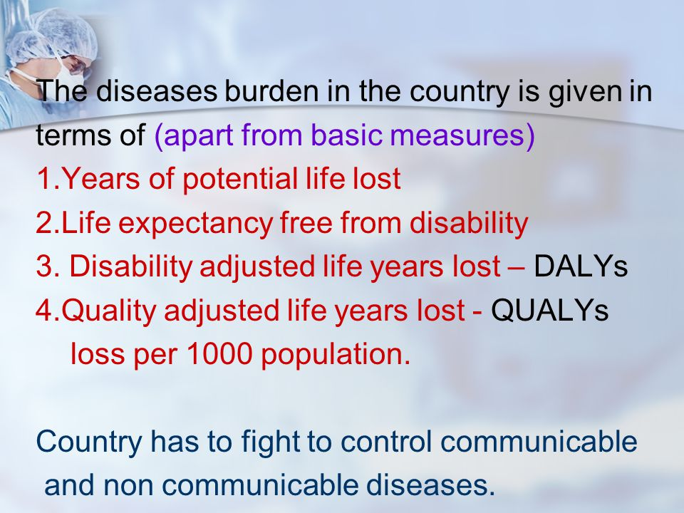 The diseases burden in the country is given in