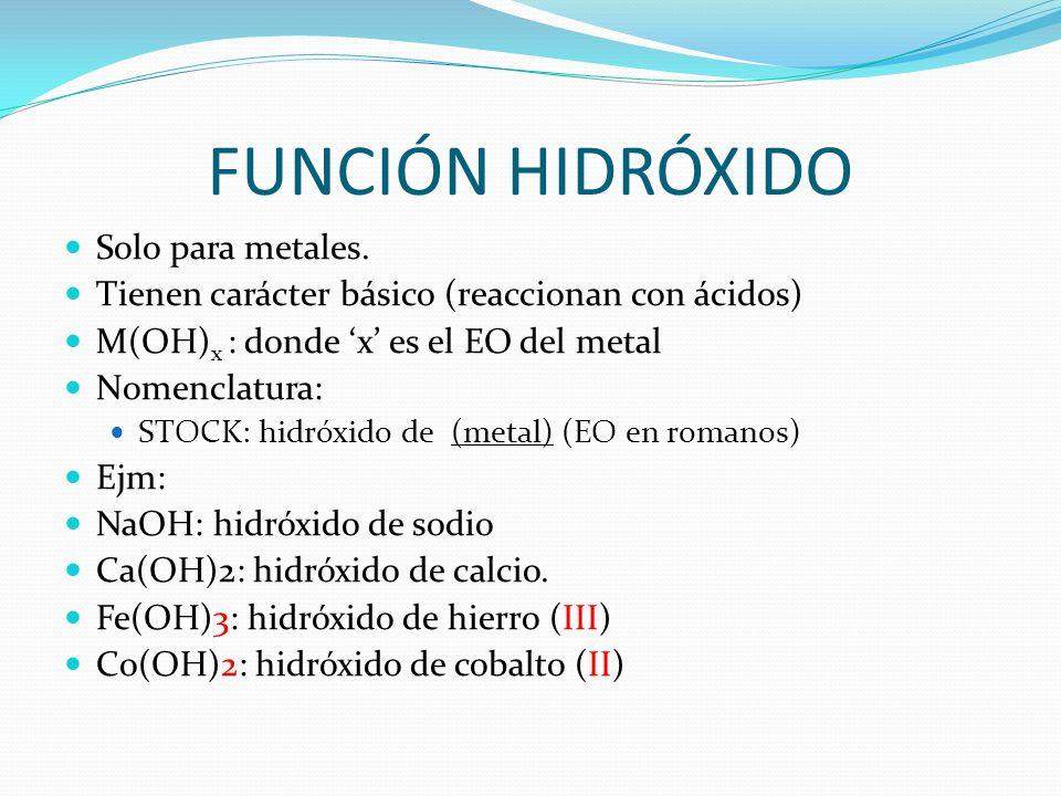 FUNCIÓN HIDRÓXIDO Solo para metales.